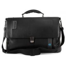 Черный расширяемый портфель для ноутбука Piquadro Pulse