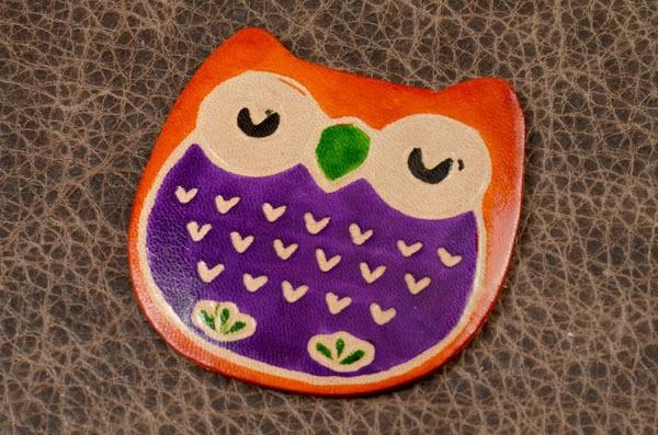 Карманное зеркальце в кожаной оправе (оранжевый, Сова)