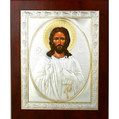Господь благословляющий. Икона Иисуса Христа в серебре