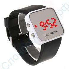 Наручные зеркальные часы Led Watch черные