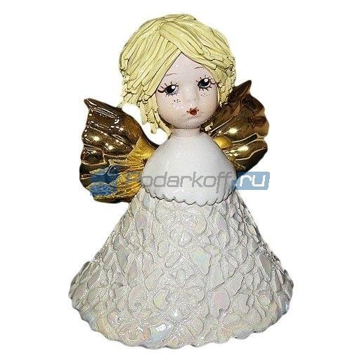 Фарфоровая фигурка Ангел-колокольчик со светлыми волосами
