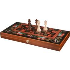 Набор игр шахматы, шашки, нарды Цветы