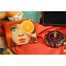 Бежевое кожаное портмоне Апельсиновая девушка 39603