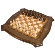Большие резные шашки, шахматы и нарды 3 в 1
