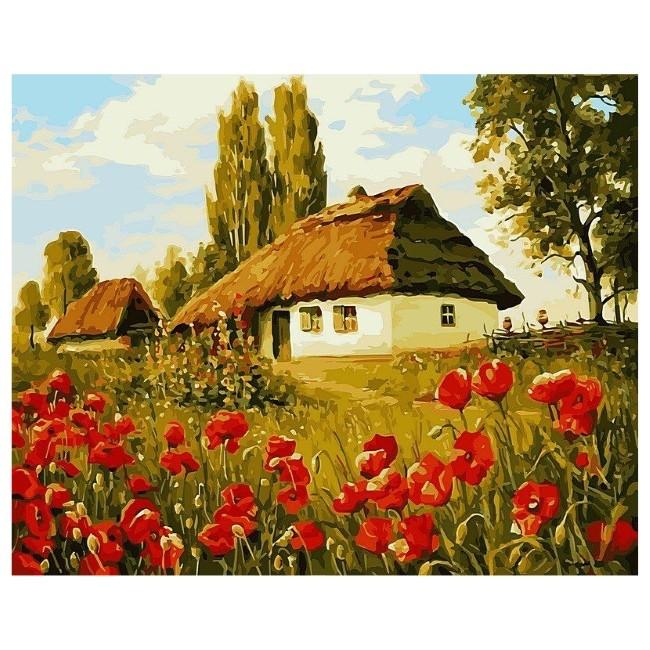Картина-раскраска по номерам на холсте Маки у хутора