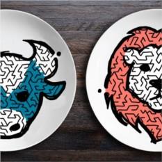 Набор тарелок-лабиринтов ЗооЛаб Бык и Лев