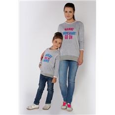 Комплект серых толстовок Nevada для мамы и дочки