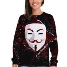 Женский свитшот Белая маска Анонимоус
