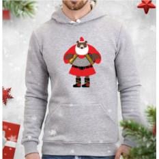 Серая мужская толстовка Медведь-Дед Мороз