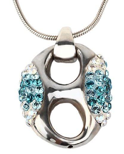 Серебряный кулон с кристаллами Swarovski Эллипс голубой
