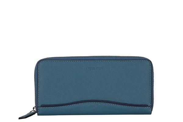 Синий кожаный женский кошелёк Leo Ventoni