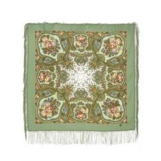 Зеленый Павловопосадский платок Сольвейг