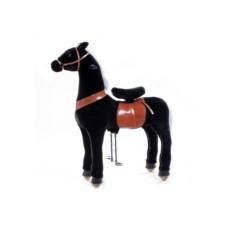 Большая детская механическая каталка Чёрная лошадка