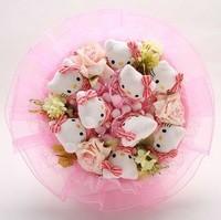 Букет из игрушек Веселые котята в розовом