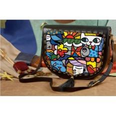 Женская сумка-седло Геометрические котики