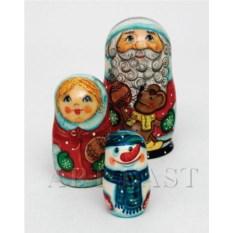 Матрешка Дед Мороз из трех элементов