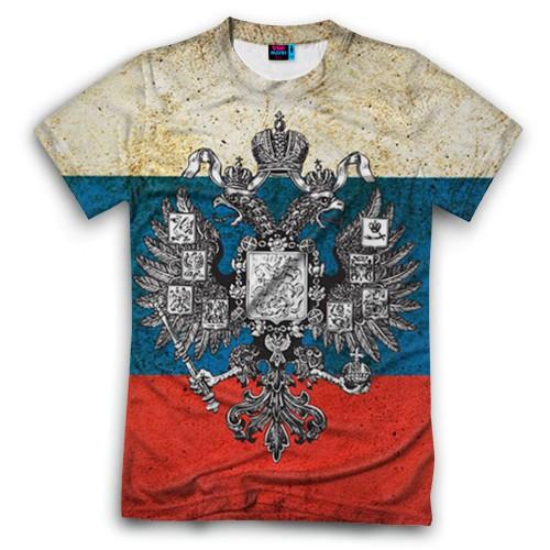 Мужская футболка 3D с полной запечаткой Россия
