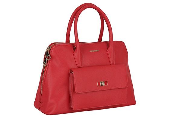 Женская кожаная сумка красного цвета Leo Ventoni