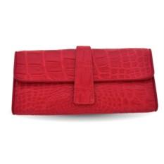 Красный кошелек из кожи крокодила с ремешком