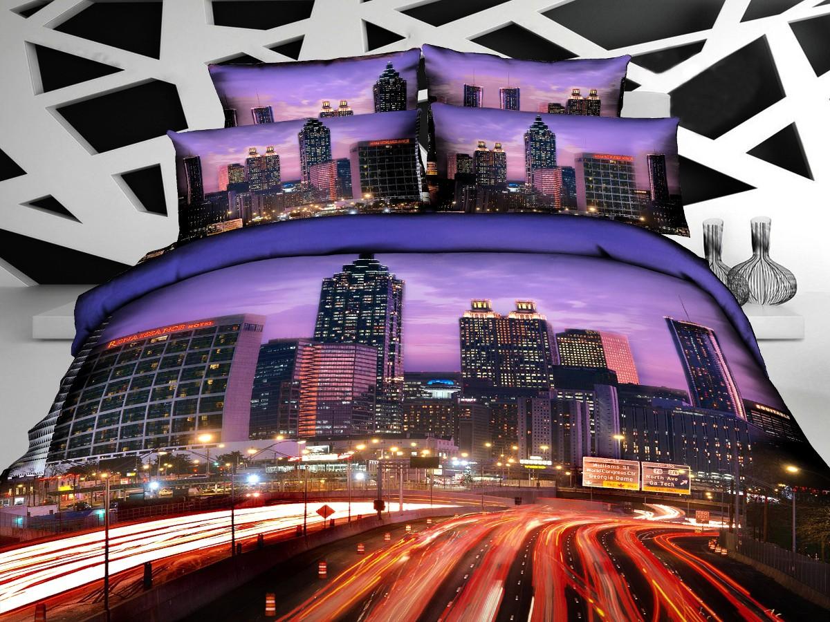 Евро комплект постельного белья 3D, мегаполис