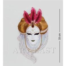 Венецианская маска Жемчуг (цвет: бело-золотой)