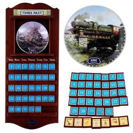 Антикварный календарь Старинные паровозы Davenport