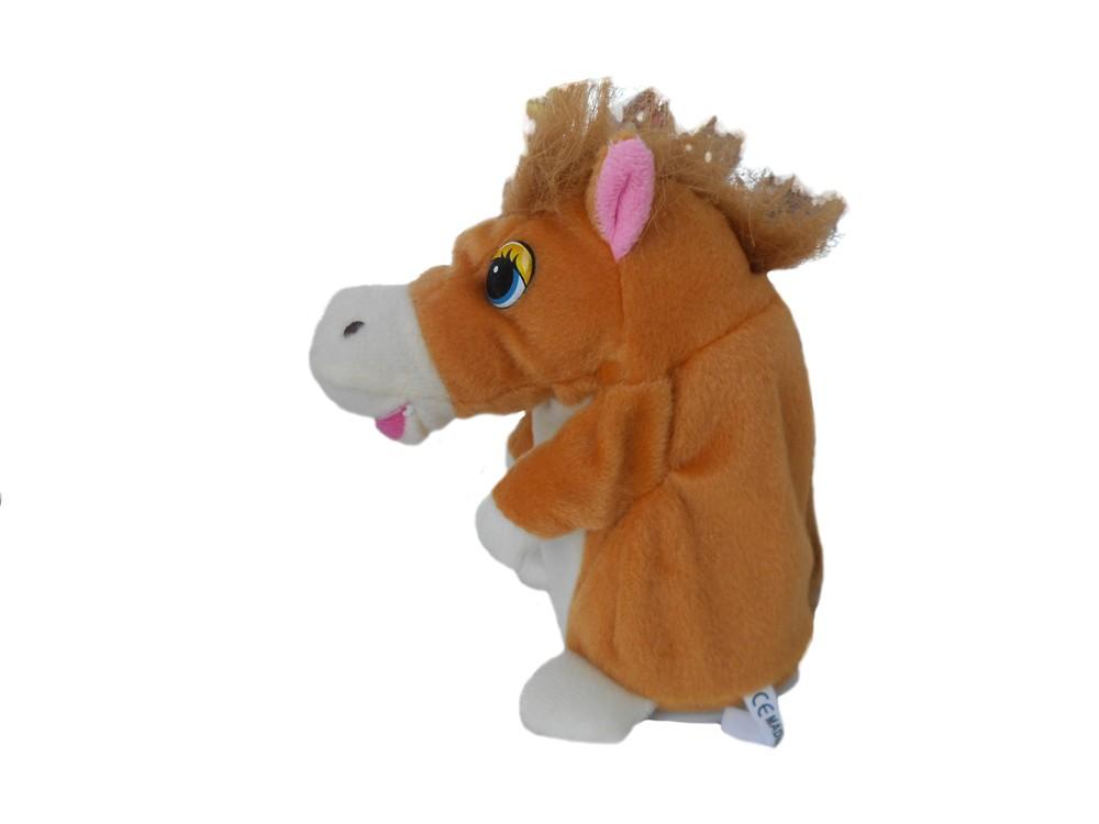 Мягкая игрушка Лошадка-повторюшка, светло-коричневая