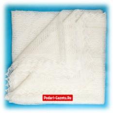 Молочный Оренбургский пуховый платок Паутинка