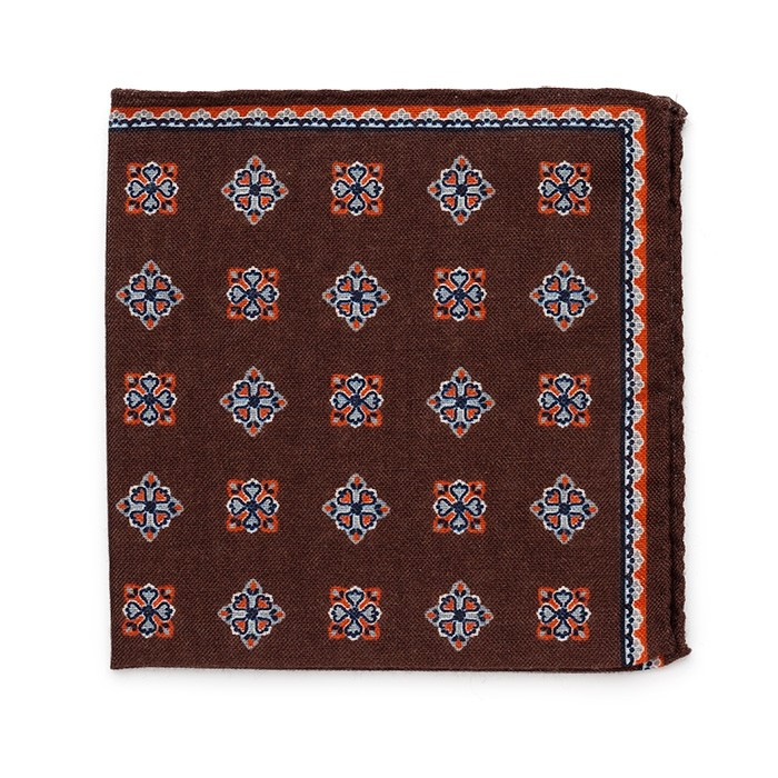 Платок Roda из шерсти, с цветочным узором, коричн.-оранжевый