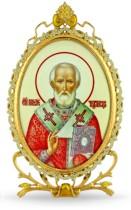 Серебряная настольная икона с образом святителя Николая Чудотворца