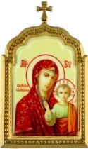 Настольная серебряная икона с образом Божьей Матери Казанской