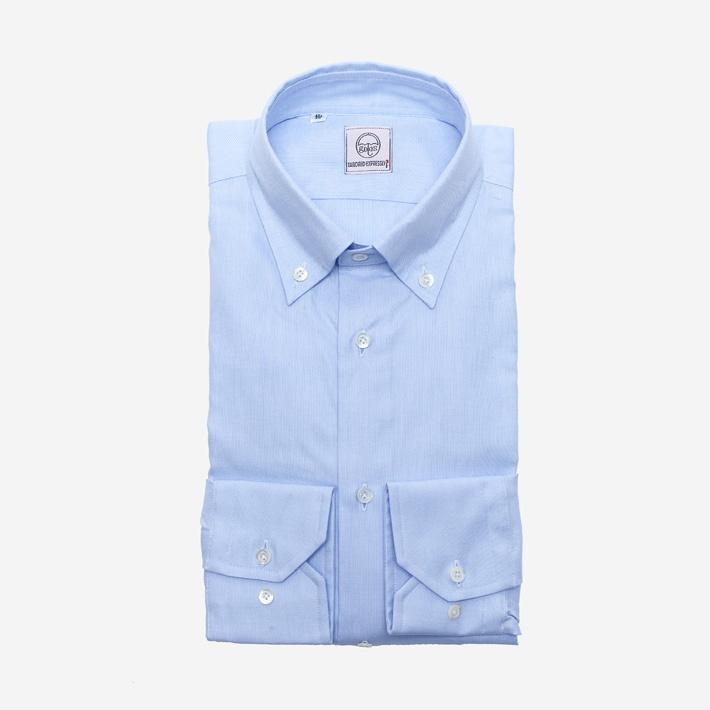 Голубая рубашка оксфорд с перламутровыми пуговицами