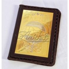 Кожаная обложка для паспорта с накладкой из золота