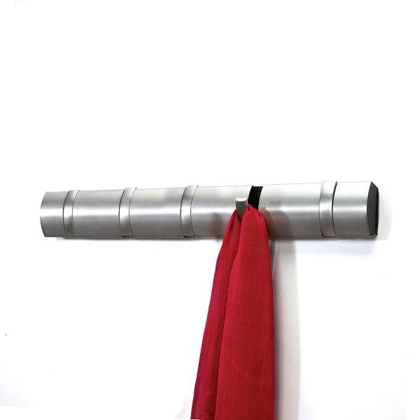 Настенная горизонтальная вешалка Flip на 5 крючков, никель