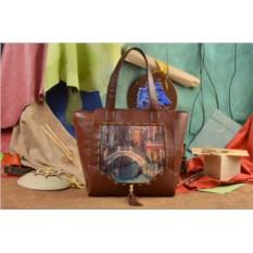 Коричневая сумка-шопер Живописный городок Elole Design