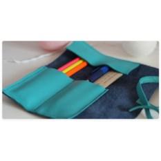 Кожаный пенал Dark blu