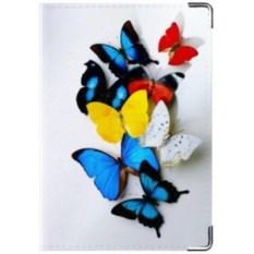 Кожаная обложка на права Бабочки на белом фоне