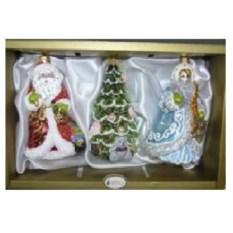 Набор игрушек Снегурочка с зайчиком, елочка и Дед Мороз