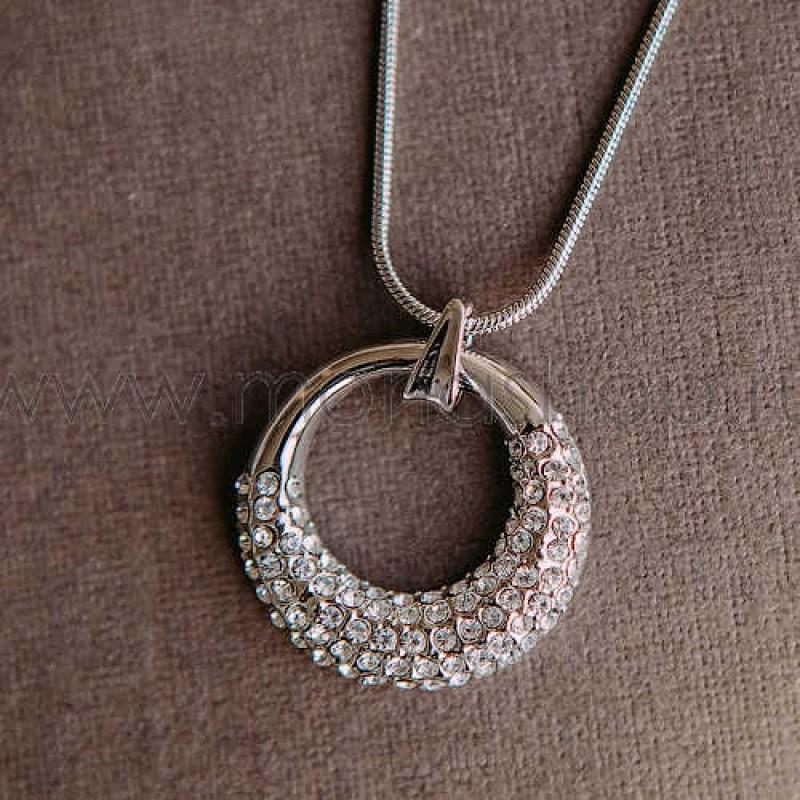 Кулон-подвеска «Блеск» круглая с кристаллами Swarovski