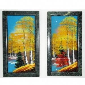 Картина Осень из каменной крошки с рамкой из камня