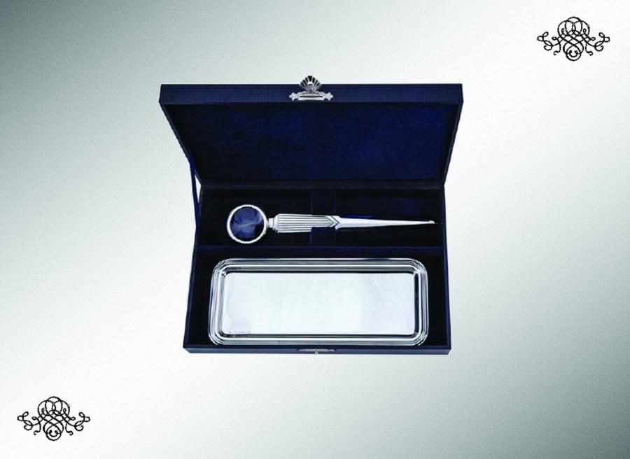 Серебряный набор для писем с подносом для ручек Инглезе из 2 предметов