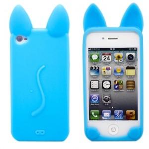 Голубой чехол для iPhone 4/4S Kitty