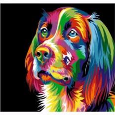 Картина цветным песком Собака
