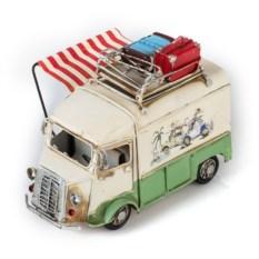 Ретро-модель Бело-зеленый автобус с фоторамкой и подстакой