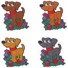 Магнит Собачка с цветами