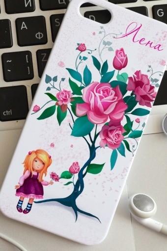 Чехол для iphone 5 с вашим текстом Цветы, розы