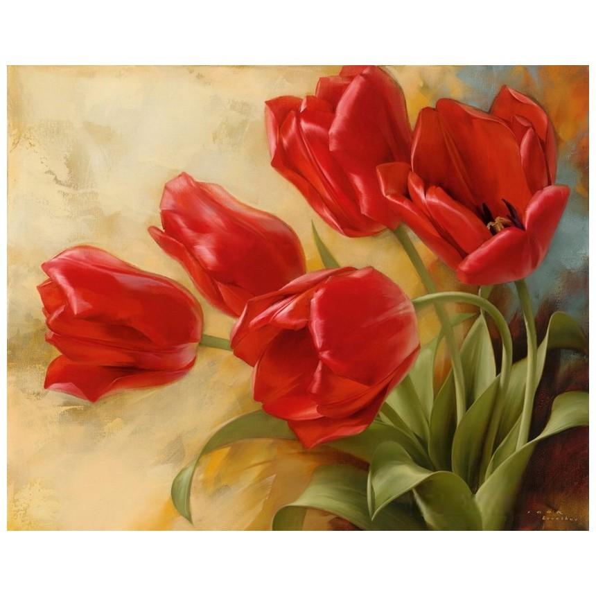 Картина-раскраска по номерам на холсте Пять тюльпанов