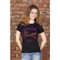 Черная женская именная футболка Выпускник