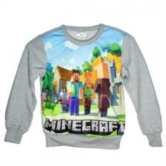 Серый свитшот с карманом кенгуру Деревня Minecraft