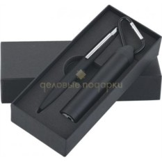 Черный прорезиненный набор Ручка и источник энергии